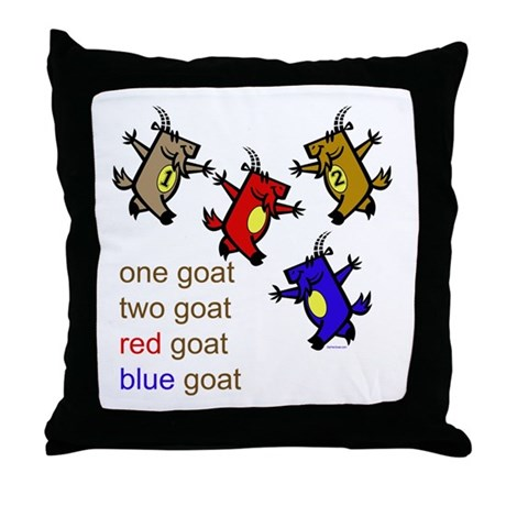 One Goat, Two Goat, Red Goat, Blue Goat Throw Pill