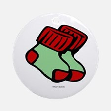 Holiday Ornament - Round with pair of socks