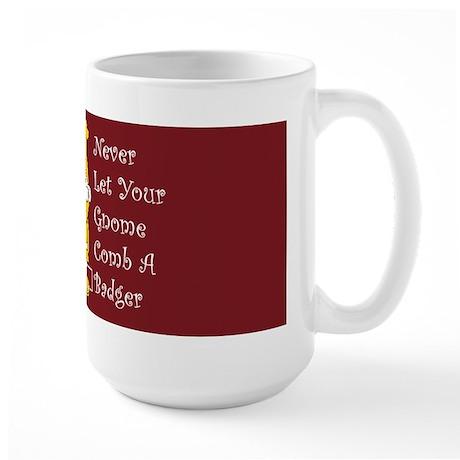 Badger Combing Gnome Large Mug