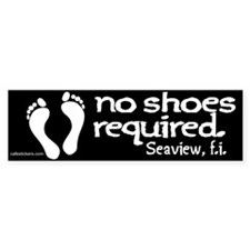 """No Shoes Required """"Seaview"""" Bumper Sticker"""