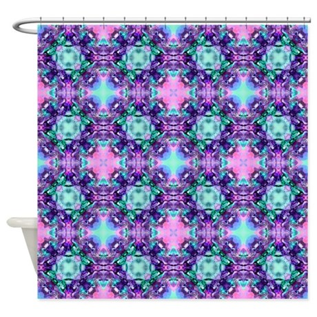 Turquoise Purple Fractal Pattern Shower Curtain By HippyGiftShop