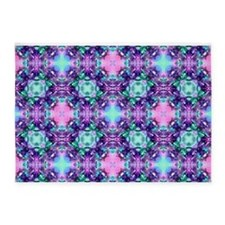 Turquoise Purple Fractal Pattern 5'x7'Area Rug