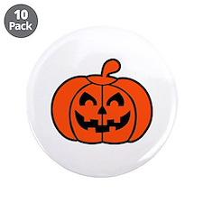 """Pumpkin face halloween 3.5"""" Button (10 pack)"""
