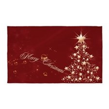 Red Golden Christmas 3'x5' Area Rug