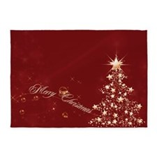 Red Golden Christmas 5'x7'Area Rug