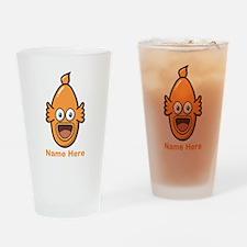 Fish. Orange Custom Text. Drinking Glass