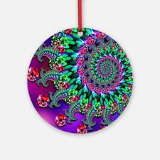 Purple Green and Red Bokeh Fractal Pattern Ornamen