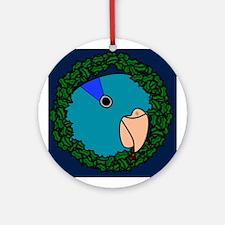 Blue Parrotlet Wreath Christmas Ornament