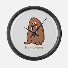 Walrus. Custom Text in Brown. Large Wall Clock