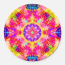 Pink Fractal Art Mandala Pattern Round Car Magnet