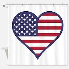 American Flag Heart Shower Curtain