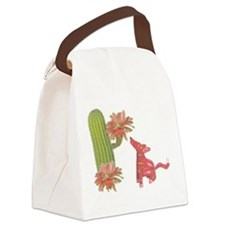 CACTUS FLOWER AND COYOTE Canvas Lunch Bag