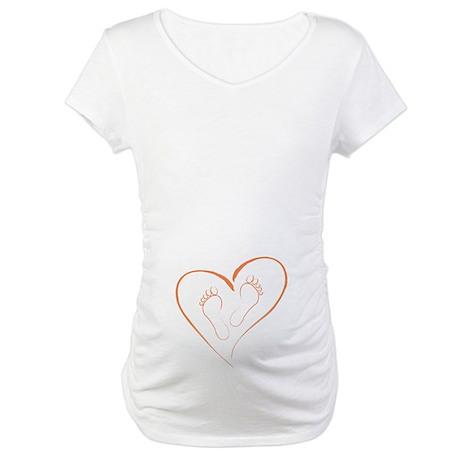 Orange Footprints in Love Maternity T-Shirt