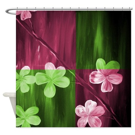 Modern Abstract Cherry Blossom Shower Curtain