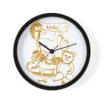 Golden Nursery Toys by Kristie Hubler Wall Clock