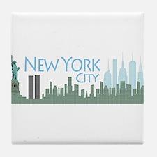 NYC Liberty Skyline lite Tile Coaster