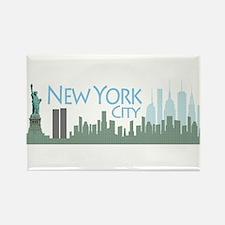 NYC Liberty Skyline lite Rectangle Magnet