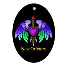 Flying Purple Heart Tattoo Oval Ornament
