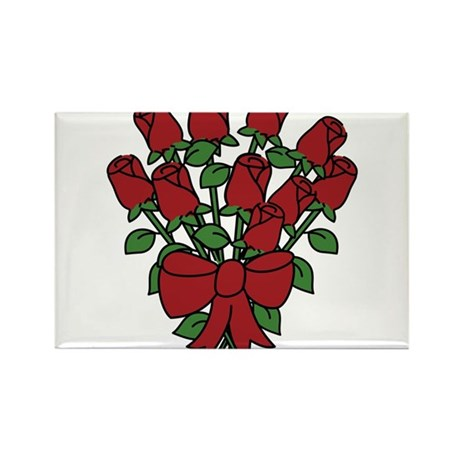 Dozen Roses Rectangle Magnet