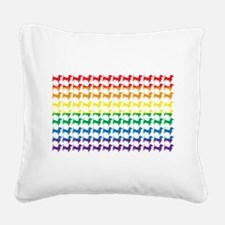 Doxie Gay Pride Flag Print Square Canvas Pillow