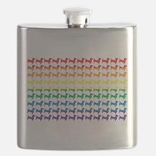 Doxie Gay Pride Flag Print Flask