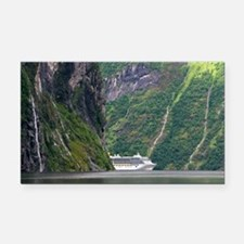 Cruise ship in a fjord, Norway - Car Magnet