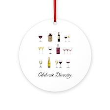 Celebrate Diversity Wine Ornament (Round)