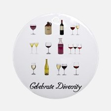 Celebrate Diversity Wine Ornament (Round)