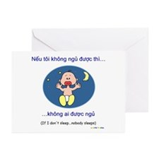If I Don't Sleep... (Vietnamese) Greeting Cards
