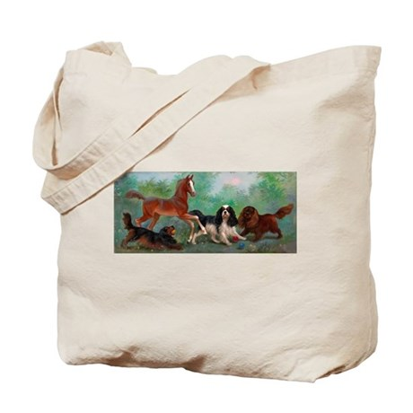 Cavalier King Charles Spaniels and Foal Tote Bag