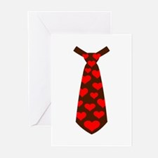 Tie red hearts Greeting Cards (Pk of 20)
