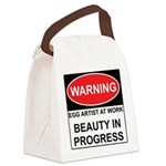 WARNING Artist @ Work Canvas Lunch Bag