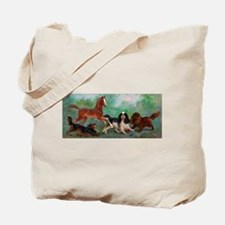 Cavalier King Charles Spaniels with Foal Tote Bag