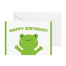 Happy Birthday Green Frog Greeting Card