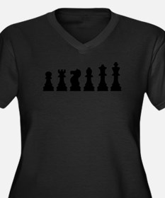 Evolution chess Women's Plus Size V-Neck Dark T-Sh