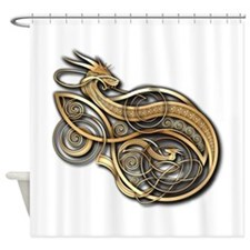 Gold Norse Dragon Shower Curtain