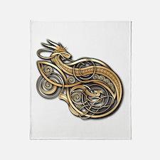 Gold Norse Dragon Throw Blanket