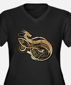 Gold Norse Dragon Women's Plus Size V-Neck Dark T-