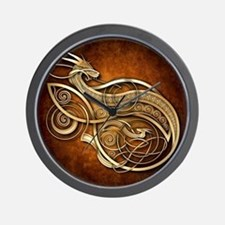 Gold Norse Dragon Wall Clock