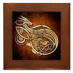 Gold Norse Dragon Framed Tile