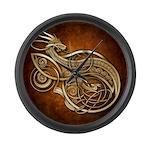 Gold Norse Dragon Large Wall Clock