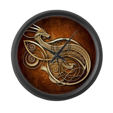 gold norse dragon large wall clock by naumaddicarts
