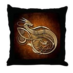 Gold Norse Dragon Throw Pillow
