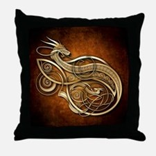 Gold Norse Dragon Throw Pillow