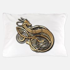 Gold Norse Dragon Pillow Case