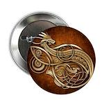 """Gold Norse Dragon 2.25"""" Button"""