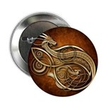 """Gold Norse Dragon 2.25"""" Button (10 pack)"""