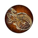 """Gold Norse Dragon 3.5"""" Button"""