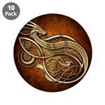 """Gold Norse Dragon 3.5"""" Button (10 pack)"""