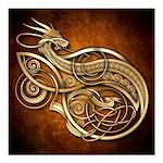 "Gold Norse Dragon Square Car Magnet 3"" x 3&qu"